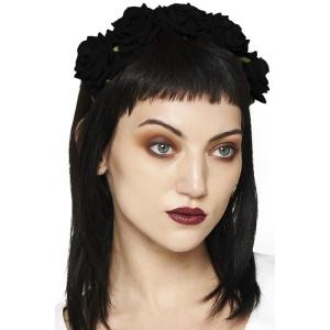 Gothic Haarreifen mit schwarzen Stoffrosen