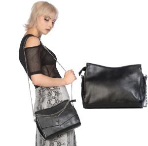 schlichte schwarze Tasche mit Kreuzkette Banned