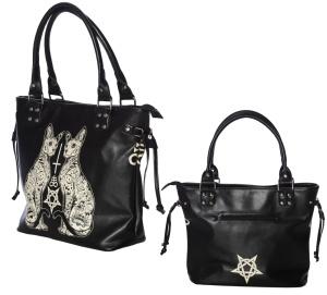 Handtasche mit Katzenmotiv und Pentagramm Esoteric Cat Banned
