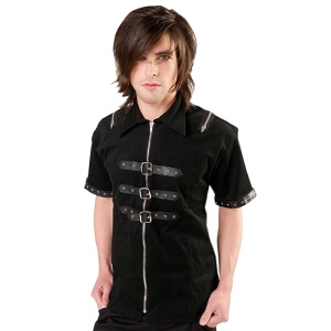Herren Hemd im Gothicstil Shackle Shirt Denim Black Pistol