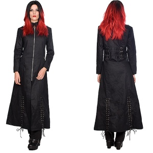 Gothicmantel Ladies Ring Coat Black Pistols