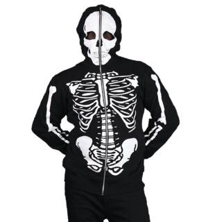 Herren Kapuzenjacke Skelett Full Zip Hoodie Banned