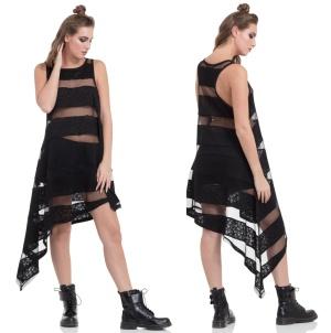 Grunge Kleid Skull Striped Dress Jawbreaker