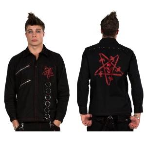 Gothic Hemd mit rotem Pentagramm Dead Threads