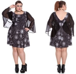 Lucille Dress/Gothicminikleid Spin Doctor Plussize