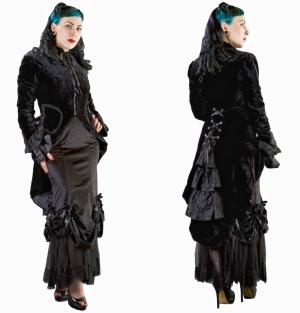 Pirate Coat Gothic Samtmantel Burleska Plussize