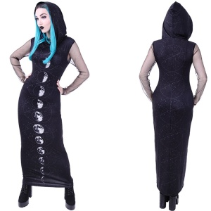 Langes Gothic Kleid Moon Phases