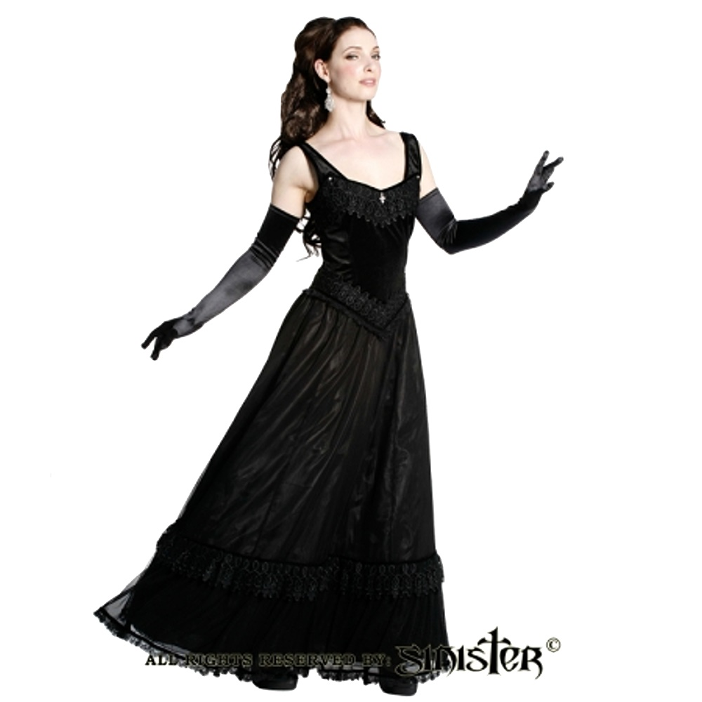 Edles Gothic Kleid lang Sinister Plussize Sinister bei Army Shop armydepot