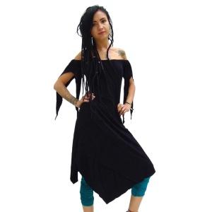 Asymmetrisches Kleid mit Carmenausschnitt im Elfen und Feen Punk Look