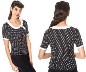 Damen Tshirt Polkadot im Stil der 50/60iger Jahre Banned