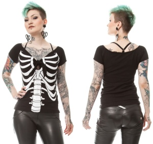 Damen Tshirt Skelett Boney Betty Rockabella