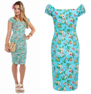 Pencil Dress/Bleistiftkleid Hawaii Blumen Collectif Rockabilly bis Plussize