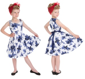 Rock n Roll Kleid blaue Blumen Kinder H&R London