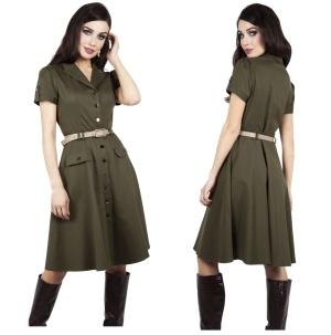 Kleid im Stil der 40iger Jahre Martha Flare Dress Voodoo Vixen bis Plussize