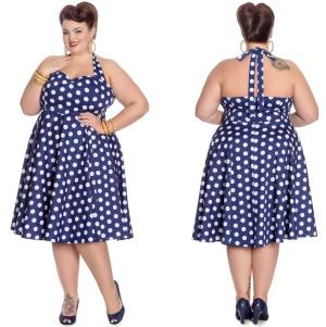 Marian Dress Rock N Roll Kleid Punkte Plussize Hellbunny