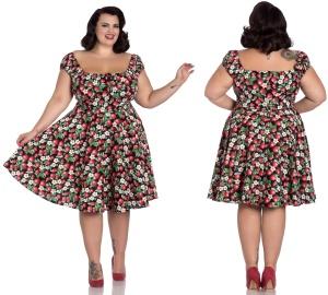 Strawberry/Erdbeere Sundae Mid Dress Rock n Roll Kleid Übergrösse Hellbunny