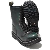 Steel 10 Loch Boots Schnürstiefel Springerstiefel green rub off