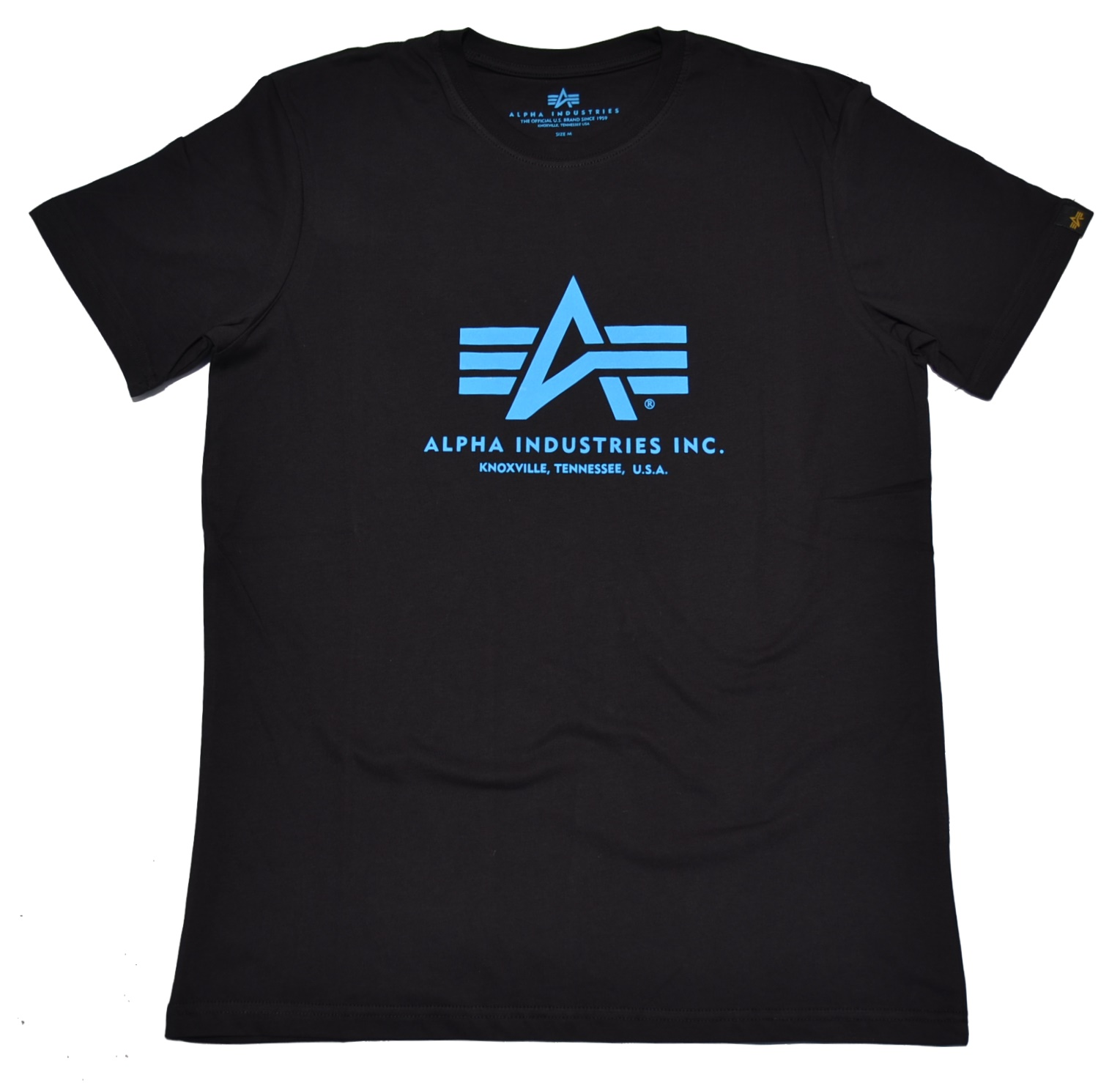 sneakers for cheap 7a2df 3d543 Alpha Industries T-Shirt 100501 schwarz mit blauem Aufdruck - Alpha  Industries bei Ostzone Shop - www.ostzoneshirts.de