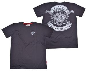 Dobermans Aggressive T-Shirt Death Rider Skullmotiv mit Messern