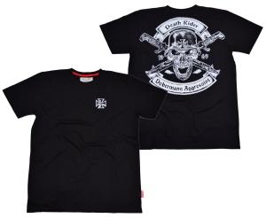 Dobermans T-Shirt Death Rider Totenkopf mit Stahlhelm Eisernes Kreuz