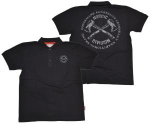 Dobermans Aggressive Viking Poloshirt Nordic Division gekreuzte Äxte