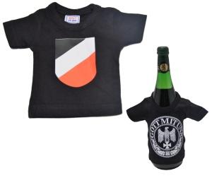 Mini Deko T-Shirt Wappen schwarz weiß rot K52