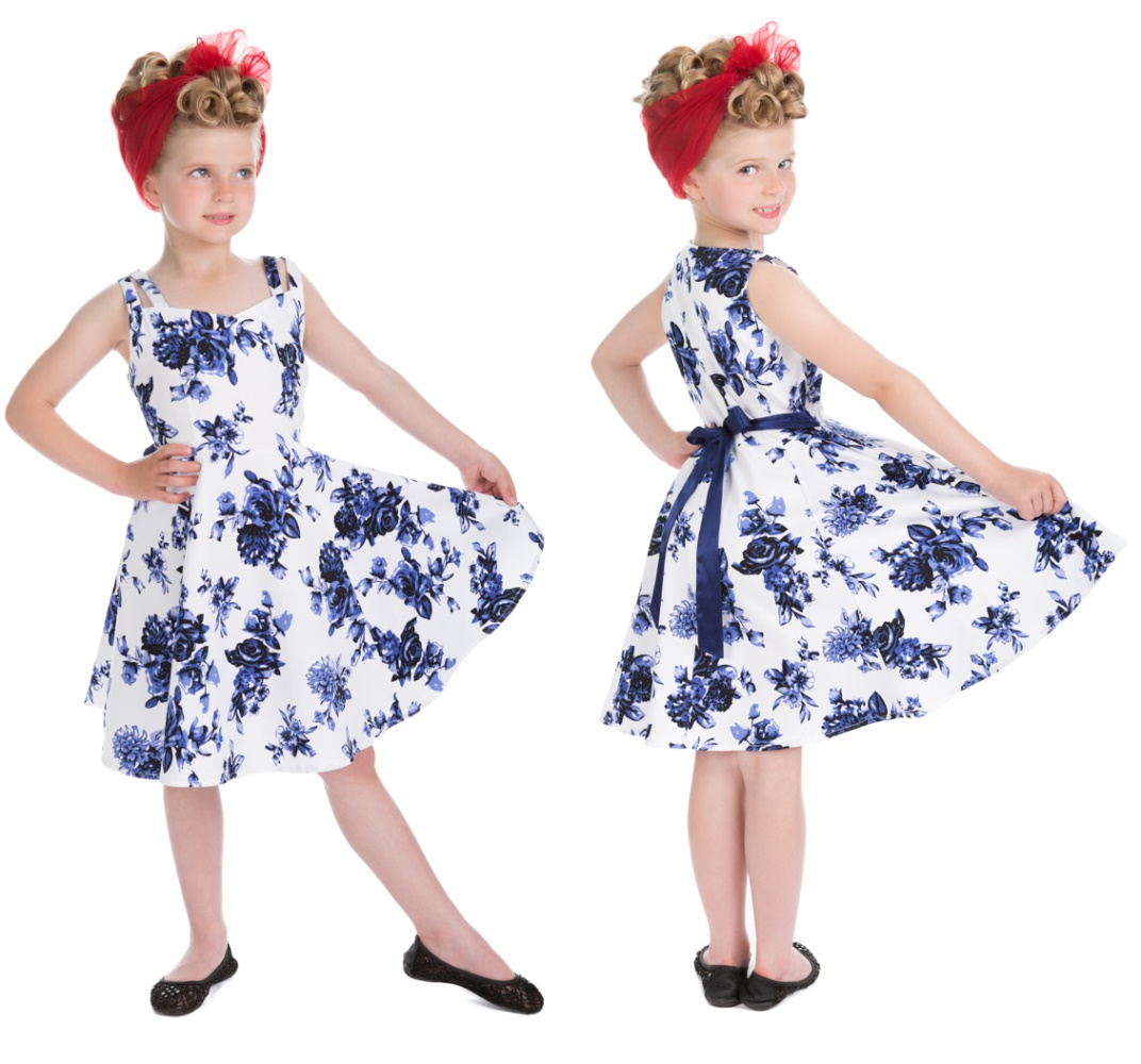 amp;r Kinder London Ostzone Shop Bei Rock H Nroll Kleid Flower Blue K1lcFJ