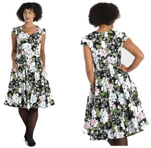Swingkleid Alba im Stil der 50iger Jahre mit Blumendruck Hellbunny
