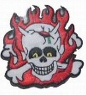 Aufnäher Totenkopf Flammen Skull and Flames