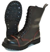 Boots & Braces 10-Loch Stiefel mit Stahlkappe und roten Nähten