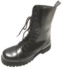 Boots and Braces 10 Loch Boots/Stiefel schwarz/glänzend Stahlkappenstiefel für Punks Skins und Gothic Fans