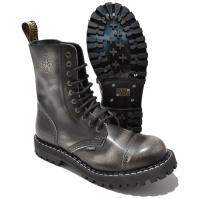 Steel 10 Loch Boots Schnürstiefel Springerstiefel white rub off