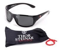 Thor Steinar Sonnenbrille Geilo II schwarz/rotes Logo glanzschwarz