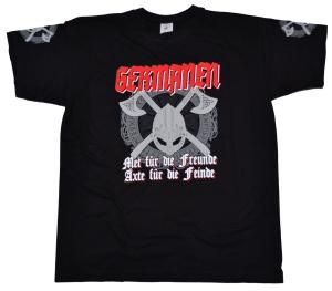 Viking Motiv T-Shirt Germanen Met für die Freunde Äxte für die Feinde